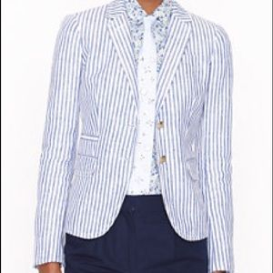 J Crew schoolboy linen stripe blazer